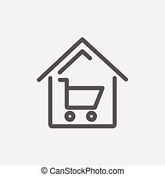 House shopping thin line icon - House shopping icon thin...