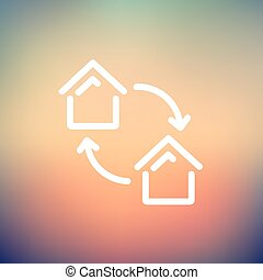 Two little houses thin line icon