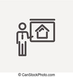 Real Estate Training thin line icon