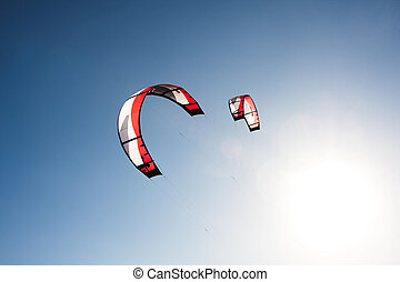 Kite surfing - Outdoor kite surfing on a sunny day