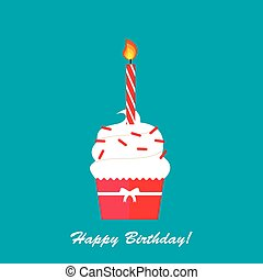 Happy Birthday card with cupcake and candle