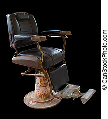 Old Vintage barber chair on white background