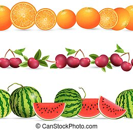 collection seamless borders with fruits on white background....