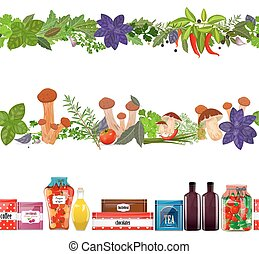 collection seamless borders with food, vegetables, herbs, mushro