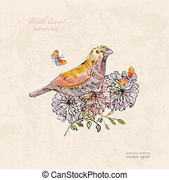 vintage greeting card with cute bird and butterflies. watercolor