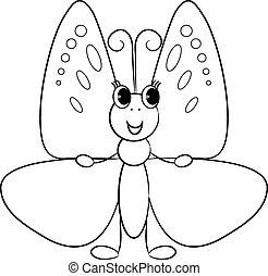 Cute cartoon butterfly.Vector
