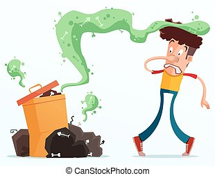 stinky garbage - young man get annoyed because of stinky...