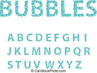 Alphabet letters consisting of blue bubbles, vector...