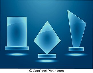 Blank glass awards set  with copy space