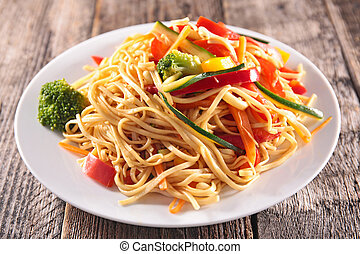 plate of noodles and vegetables