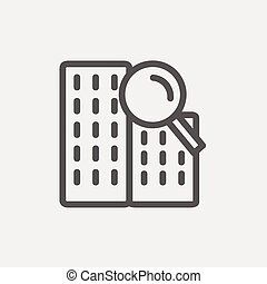 Search building thin line icon - Search building icon thin...