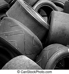 Used racing car tyres