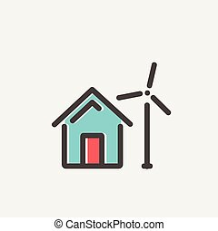 House with windmill thin line icon - House with windmill...