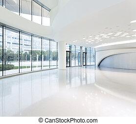 futurista, moderno, oficina, edificio, interior, en, urbano,...