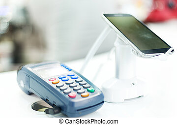 POS machine for credit card in technical exhibition