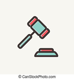 Gavel thin line icon - Gavel icon thin line for web and...