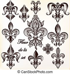Collection of vector royal fleur de lis for design.eps