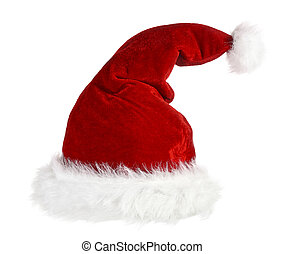 santa claus red hat - isolated classic red and white cap of...