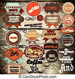 Collection of vector vintage labels on wooden texture.eps