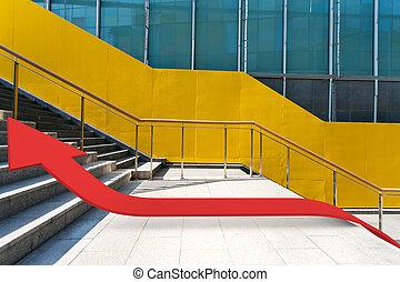 3d arrow growth sign on steps near building