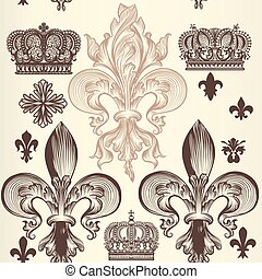 Heraldic wallpaper pattern with