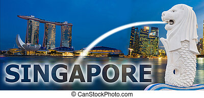 Panorama Banner Night of Marina Bay Singapore