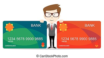Man holding a bank card - vector illustration - Happy...
