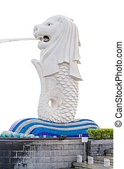 The Merlion Singapore isolated with clipping path