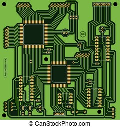 Printed Circuit Board PCB - Illustration of a green printed...