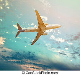 Big jet plane flying against perfect sky background
