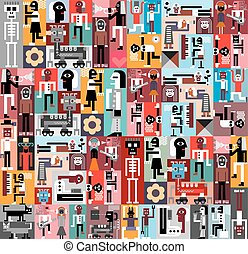 People and Robots. Vector graphic design. Composition of...