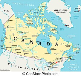 Canada Political Map with capital Ottawa, national borders,...