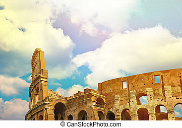 Colosseum in Rome with blue sky