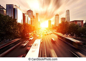 modern cityscape in the sunset