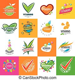 large set of vector logos vitamins