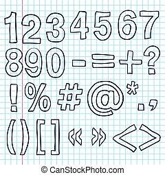Hand-drawn Numbers. Doodles Sketch