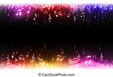 Multicolor Music Notes Background - music notes with stars...