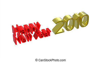 Happy New Year 2010, 3d render, isolated on white