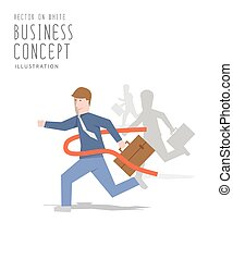 Competition of business sprint to the finish line first to ribbon flat vector.