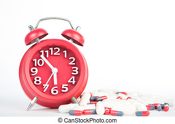 Red clock and capsule show healthcare and medicine time...