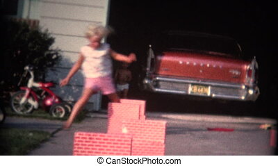 (8mm Vintage) Boy and Girl Jumping