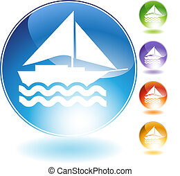 Sailboat Crystal Icon - Sailboat crystal icon isolated on a...