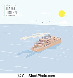 Ferry Boat in the ocean flat vector - Illustration vector...
