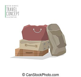 Pile stacked luggage flat vector.