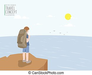 Backpacker standing on a cliff looking out to the sea view. On a clear day flat vector.