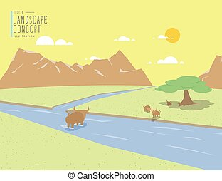 Landscape mountains view and animal. On a clear day flat vector.