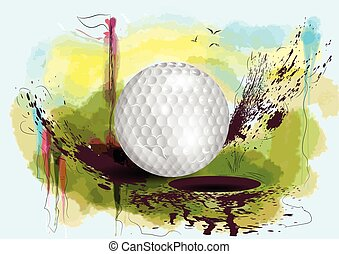 golf course golf ball on abstract grunge background