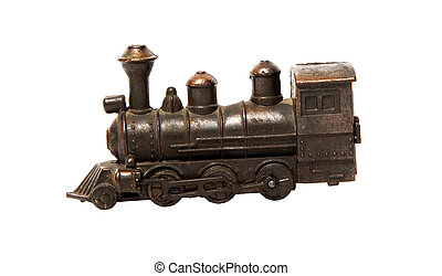 Train - Bronze train over white background. Isolated object....
