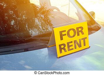 """""""RENT A CAR"""" sign on car - Rent a car concept"""