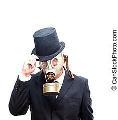 Businessman with gas mask and with a hat over white
